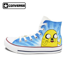 Child Converse Chuck Taylor Hand Painted Shoes Adventure Time Jake Finn Design Custom High Top Men Women Canvas Sneakers(China)