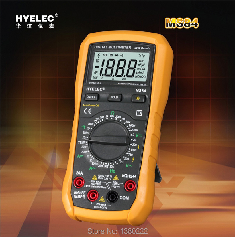 Free shipping Digital Multimeter Capacitance AC/DC Resistance Temperature Frequency Tester w/ Backlight 2000 Counts HYELEC MS84<br>