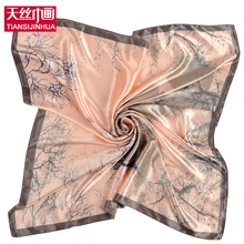 90*90cm Fashion Woman Foulard Silk Square Scarf Exquisite Printed Hijab Fashion Brand Womens Crepe Satin Silk Shawl Bandana(China)