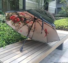 100% Brand Sun Protection Umbrella 3 Folding Novelty Umbrella Flower Black Hole Umbrella Brand Umbrella Sombrillas UV(China)