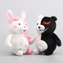 "Anime Danganronpa Monokuma Bear Soft Dolls Plush Toy Black& Pink Peluche Cartoon Figure Toy Kids Gifts 10"" 25 CM(China)"
