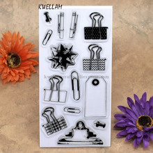Office folder paper clip Label Scrapbook DIY photo cards account rubber stamp clear stamp transparent stamp 10x20cm KW7041002(China)