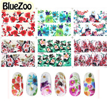 BlueZoo 6 sheets/pack Vintage Colorful Flower Decals Nail Art Accessories Water Transfer Stickers Full Cover Stamp Nail Sticker
