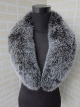 2015 new style Genuine fox fur collar black with white tips 80*14cm women's fur collar
