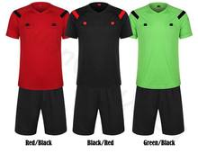 10sets Short sleeve Soccer Referee Jersey Judge Uniform Professional Soccer Referee Clothing Football Referee Jersey set