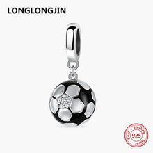 New 925 Sterling Silver Enamel Football Charm Soccer Ball Beads Fit Pandora Bracelet Silver 925 Original Bangle DIY Fine jewelry