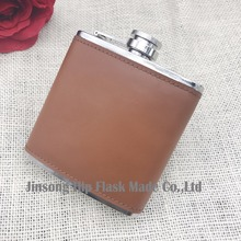 light Brown  color 6oz stainless steel hip flask genuine leather Hip Flask ,It can be engraved
