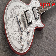 Classic electric guitar Kpole LP! Kpole Aluminum plate Mosaic, decorative pattern engraving, real photos, sales volume!(China)