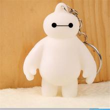 Hot Sale Key Chain White 6 Baymax Keychain Environmentally Vinyl Pendant Keychains Bag Car Phone Charm Girl Woman Gift 1 Pcs