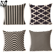 PEIYUAN Black and White Wave Stripes Cushion Cover Wholesale High Quality Sofa Pillow Cover(China)
