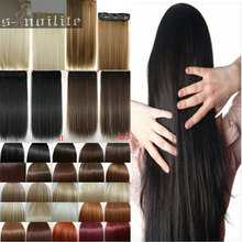 23/26 inches ANY LENGTH 100% Silky Natural Hair Extensions Long 3/4 Full Head Clip in Hair Extensions Real Synthetic for human