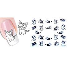 New Lovely Cartoon Animals Water Transfer 3D Cute Cat Pets Pattern Nail Sticker Full Wraps Manicure Decals DIY Nail Art Stickers(China)