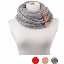 Winter Women stole button girl thick knitted scarf Wool blend foulard cachecol female shawls scarves tippet cachecol feminino(China)