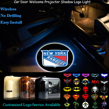 2x Wireless New York Rangers Logo Senor Car Door Welcome Ghost Shadow Spotlight Laser Projector Puddle LED Light(China)