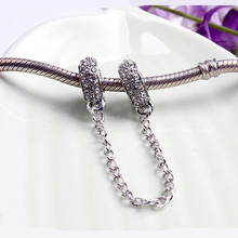 For Women DIY Jewelry Making Silver Plated Pave Inspiration Crystal Safety Chain Beads Charms Fit Pandora Bracelet Bangle(China)