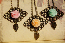 6pcs/lot Women Fashion Resin Rose Flower Necklace Pink Green Yellow Victorian Style Vintage Jewellery XL065(China)