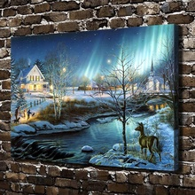 A801 Snow world River Deer Bright Animal Scenery .HD Canvas Print Home decoration Living Room bedroom Wall pictures Art painting(China)
