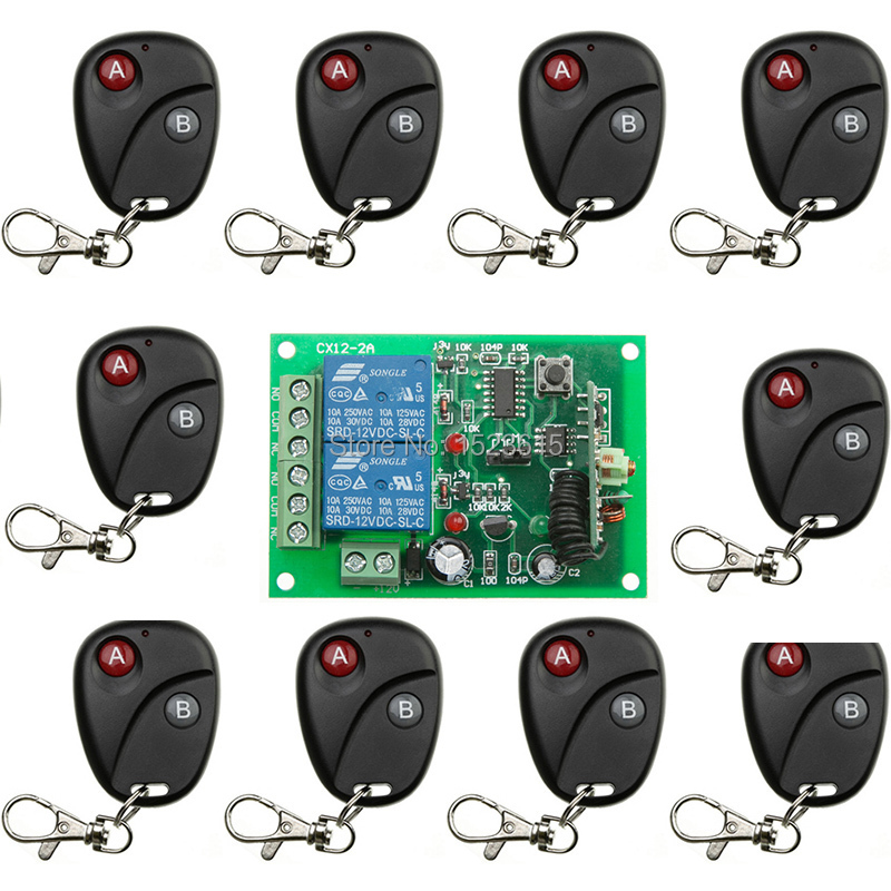 New DC12V 2CH Wireless Remote Control Switch System teleswitch 1*Receiver +10*Transmitters for Appliances Gate Garage Door<br>