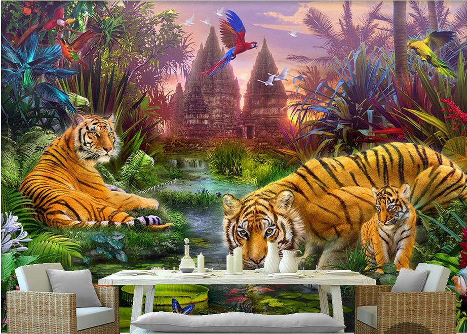 3D stereoscopic photo wallpaper custom Hawthorn forests multicolored parrots flying tiger animal painting children <br><br>Aliexpress