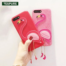 YESPURE Animal Telephone Cases Accessories for Iphone 7plus TPU+Leather Phone Case Covers Pink Fancy Fundas for Girls
