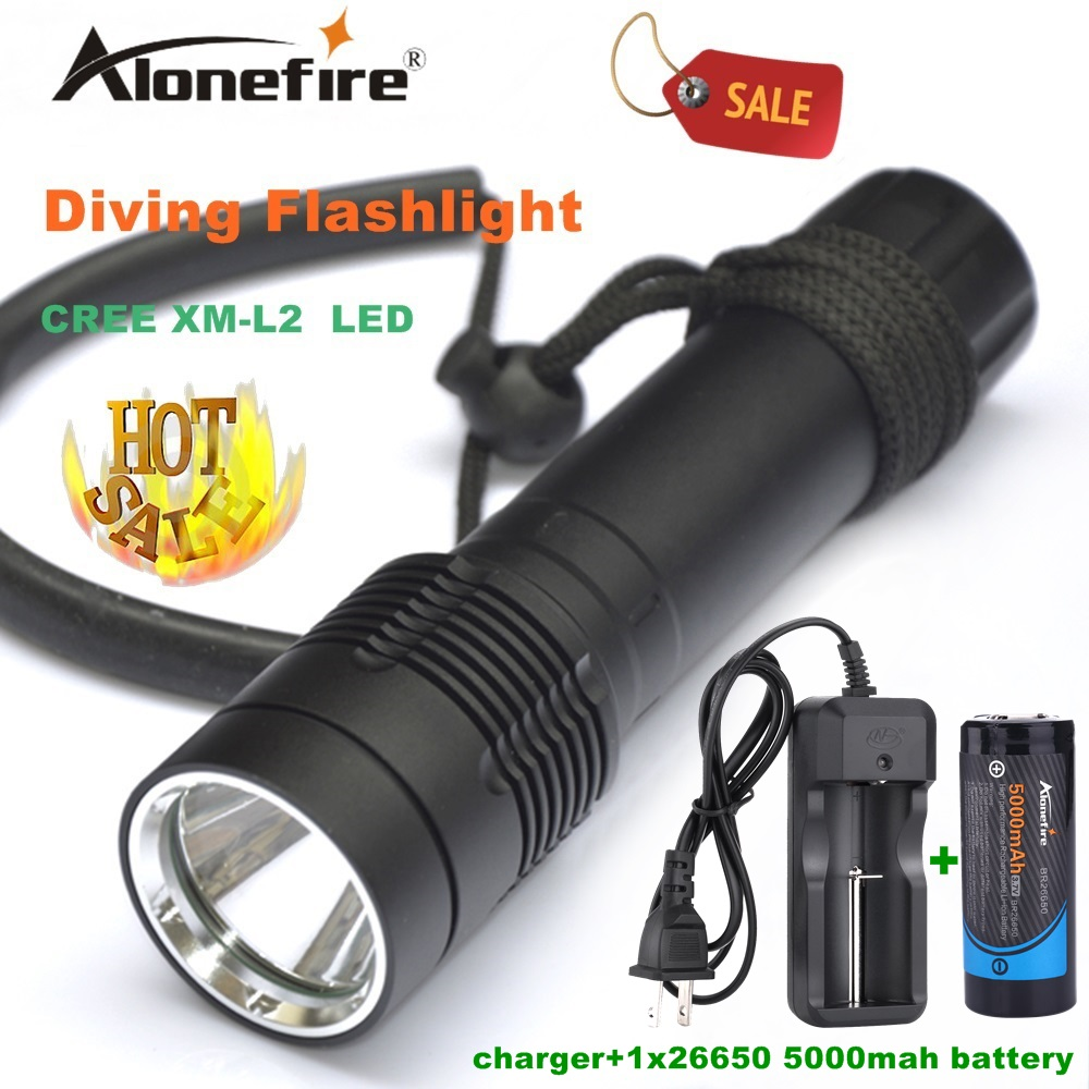 Alonefire DV21 Diving Flashlight Torch XM-L2 LED Underwater diver light Lamp +26650 rechargeable battery white light<br>