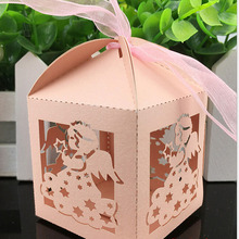 50pcs/lot Angel Butterfly Candy Box For Wedding Party Decoration Baby Birthday Shower Favors Candy Gifts Bags With Ribbons(China)