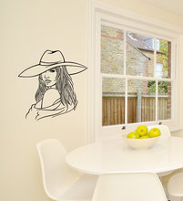 Salon Girls Portrait Wall Decals Woman Silhouette With Hat Vinyl Wall Sticker Home Livingroom Decorative Wall Poster Mural Q-37(China)