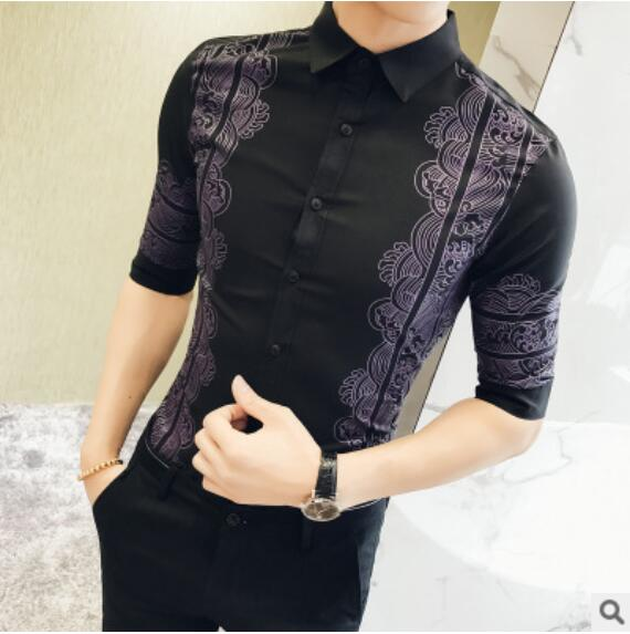 Black White Mens Wedding Dress Shirts Fashion 2018 Man Formal Business Short Sleeves Shirts Barque Shirts Male