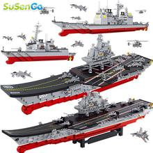 SuSenGo Building Blocks Aircraft Carrier Antisubmarine Helicopters 4 Stealth 4 Fighter Planes Patrol Yachts Compatible Lepin