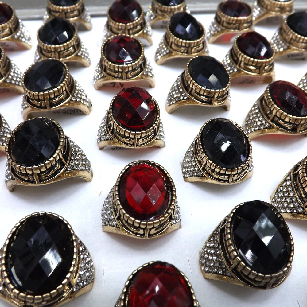 Oriental Charm Jewelry Antique Gold Color Black & Red Glass Rings With Clear Crystal 50pcs/lot