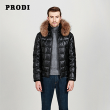 PRODI Men's Genuine Lambskin Leather Down Jacket with Chinese Natural Racoon Along the Edge of Cap PD1612