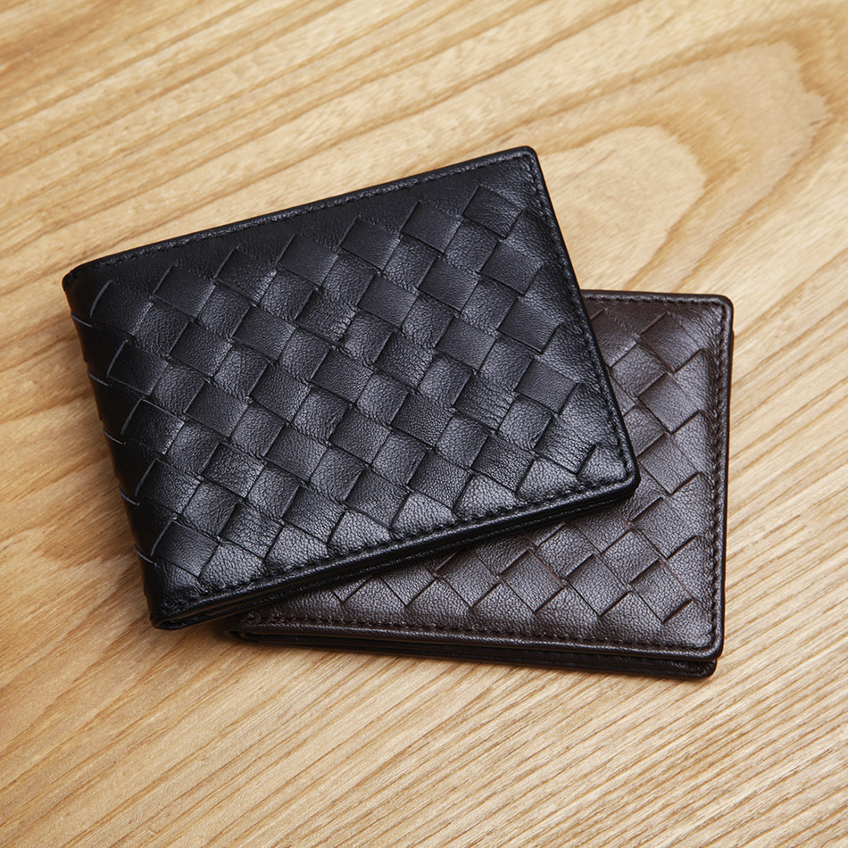 LAN Men/'s leather vertical wallet brand handmade wallet fashion thin purse