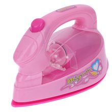 Mini Electric Iron Light-up Simulation Appliances Kids Children Pretend Play Toy Baby Girl Pink Furniture Toys Gift