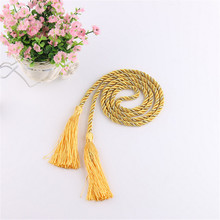 Julie Wang 1 pair Curtain Window Rope Tie Backs Curtain Fringe Tiebacks Room Tassel Decor American Pastoral Style 135cm Long