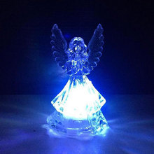 Romantic LED Colorful Changing Villain Lights Transparent Angel Night Light Energy Saving LED Lamp Kids Children Birthday Gift(China)
