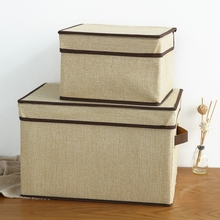 2016 New High Quality Flax Color Convenient Folding Storage Box Toy Finishing Box Storage Boxes & Bins