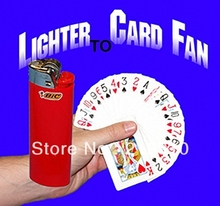 Free shipping Lighter To Card Fan Magic Tricks