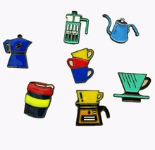 X148 Cartoon Cute Coffee Hand Rush Aeropress Cup Metal Brooch Pins Button Pins Jeans Bag Decoration Brooches Gift Wholesale TLW