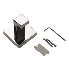 WSFS Hot 304 Stainless Square Mirror Polish Coat Towel Robe Holder Hook Bath Wall Hanger