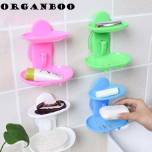 ORGANBOO 1PC  Two Layer Suction Soap Holder Bathroom Accessories Soap Dish Storage Basket Soap Box Stand Holder