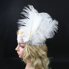 Women's Ostrich Feather Headpiece Wedding Headbands for Bride White Crystal Sequin Rhinestone 1920s Gatsby Flapper Headband