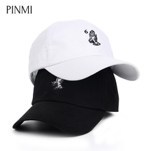 PINMI Brand Baseball Cap Men Cotton Design White Black Snapback Caps Women Embroidery Hand Pattern Street Style Couple Dad Hat(China)