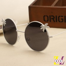big island island coconut tree metal frame round sunglasses fashionable bright color reflective glasses tide(China)