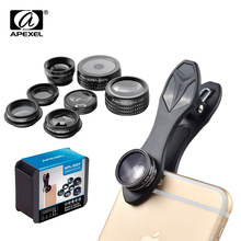 APEXEL 7 in 1 Kit Fish eye Wide Angle/macro Lens CPL Kaleidoscope mobile Phone Lens and 2X telephoto zoom Lens for iPhone6s 7(China)