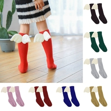 New 1Pc Baby Kids Toddler Girls Ruffles Soft High Socks Leg Warmer Angel Wings Stockings High Socks with Wings for Baby 1-3Y(China)