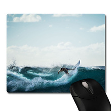 Beach wave surfing image printed Heavy weaving anti-slip rubber pad office mouse pad Coaster Party favor gifts 220x180x3mm(China)