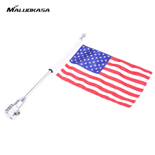 MALUOKASA Car-Styling Chrome Motorcycle Motocross Rear Side Mount Flag For Harley Bobber Custom Luggage Rack Pole American Flag(China)