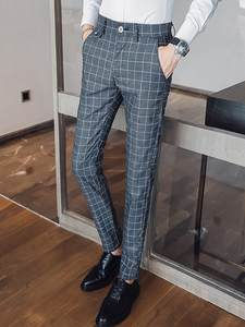 Men Pants Striped Trousers Slim-Fit Classical Plaid Male Casual Suit Plus-Size High-Quality