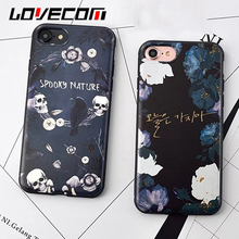 Halloween Day Best Gifts Skull Flowers Phone Case For iPhone 6 6S Plus Soft Silicon TPU Protective Phone Back Cover Cases(China)