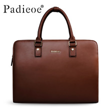 Padieoe Vintage Cowhide Leather Briefcase Men Business Laptop Tote Bags Casual Men's Leather Messenger Shoulder Bag Handbags